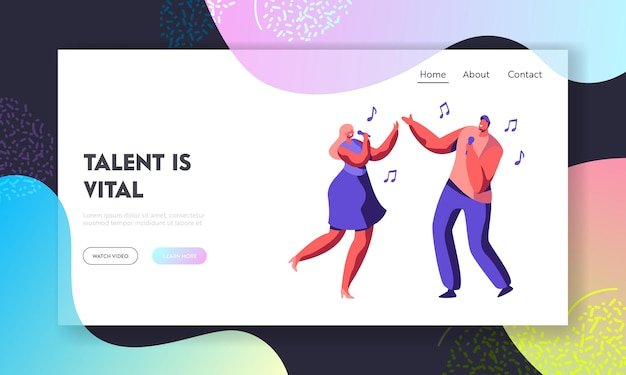 Young couple of male and female characters singing song with microphones in hands. website landing page template
