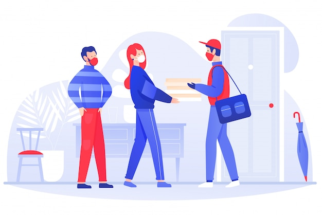 Young couple man woman gets food parcel from courier in masks and gloves. safe delivery courier service during a coronavirus covid-19 novel concept flat illustration.