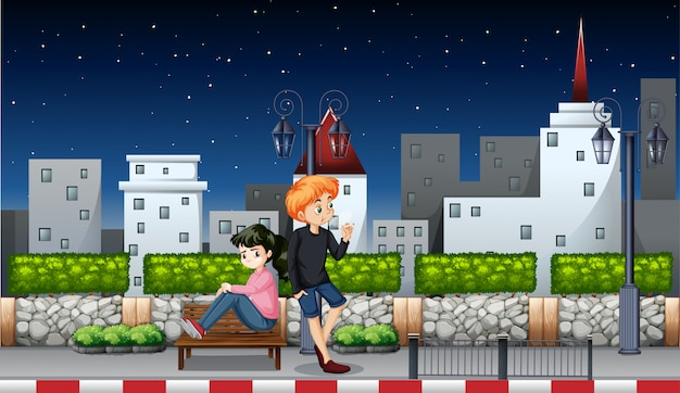 Young couple at night