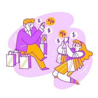 若いカップルのオンラインショッピングライフスタイル落書きイラスト