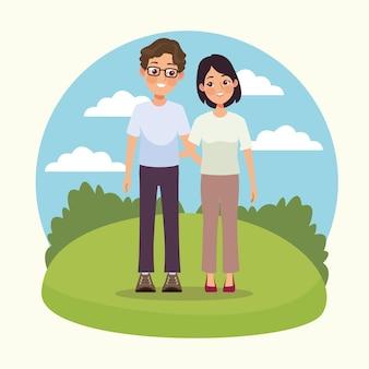 Молодая пара на открытом воздухе
