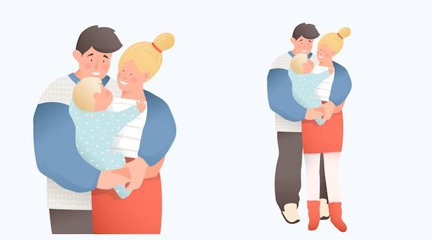 生まれたばかりの赤ちゃんを抱いて抱き締める若いカップルの両親