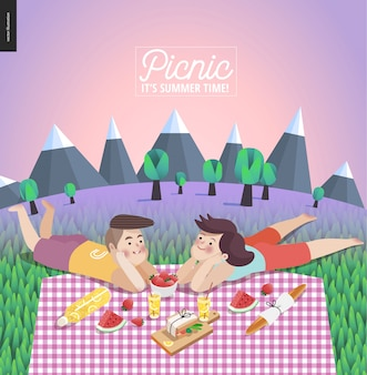 Young couple on picnic template