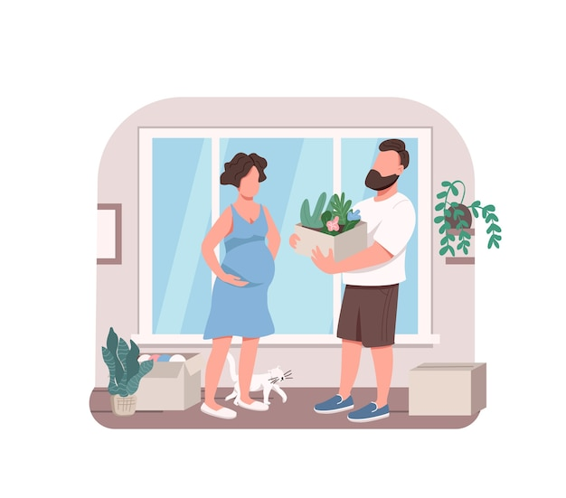 Young couple planting flowers 2d web banner, poster. husband helping pregnant wife with indoor gardening flat characters on cartoon background. printable patch, colorful web element