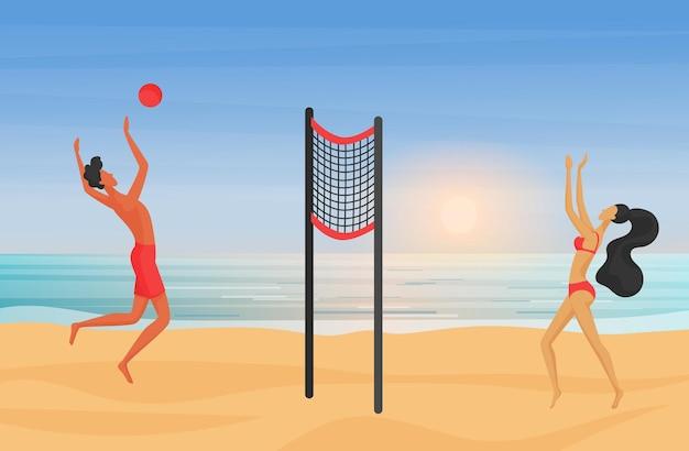 Молодая пара играет в пляжный волейбол на закате