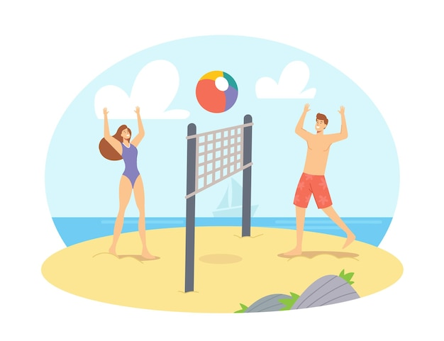 바다 해안에서 비치 발리볼을 하는 젊은 부부는 서로 공을 던집니다. 행복한 가족 아내와 남편의 여가