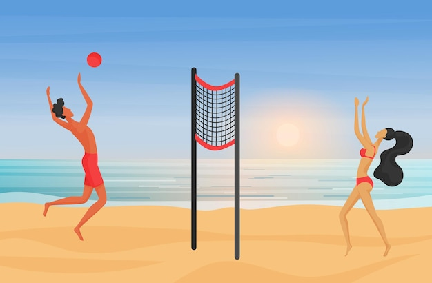 Young couple playing beach volleyball at sunset