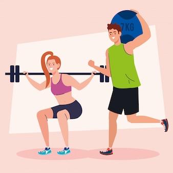若いカップルの練習、レクリエーションスポーツコンセプトの練習