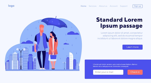 Young couple in rain vector illustration
