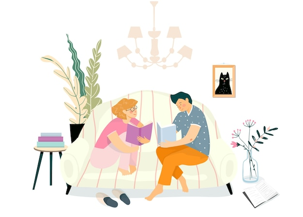 リビングルームのソファで本を読んでいる若いカップル。日常生活のイラスト、家のインテリアのソファで読書を勉強したりリラックスしたり。