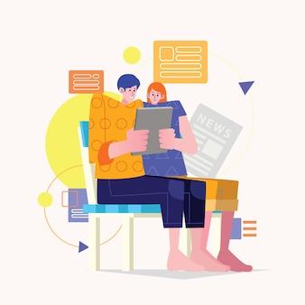 若いカップルが一緒にニュースを読む