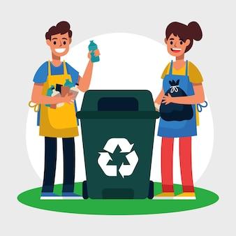 若いカップルがゴミをリサイクルします。