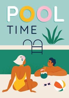 Молодая пара, расслабляющаяся у бассейна, сидя в бассейне