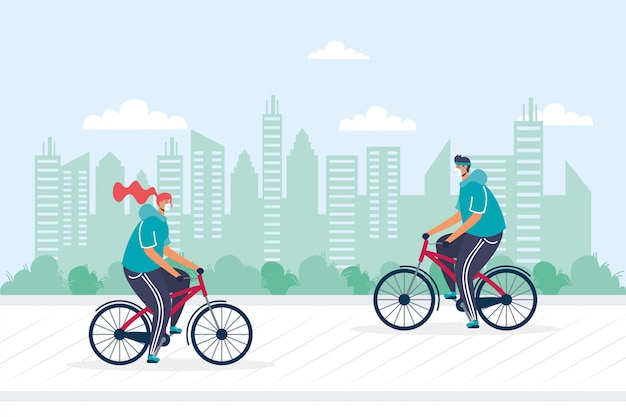Молодая пара езда на велосипеде, носить медицинские маски иллюстрации