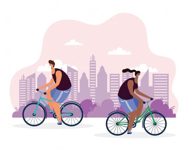 医療マスクイラストを身に着けている若いカップル乗馬自転車