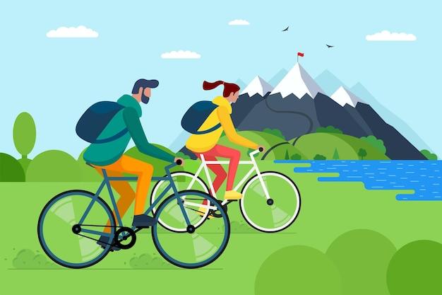 山で自転車に乗る若いカップル。自転車にバックパックを背負った男の子と女の子の自転車は、自然の中で旅行します。男性と女性のサイクリストは丘の湖と森のベクトルepsイラストでアクティブなレクリエーション