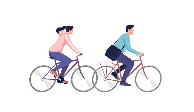 자전거를 타고 젊은 부부.
