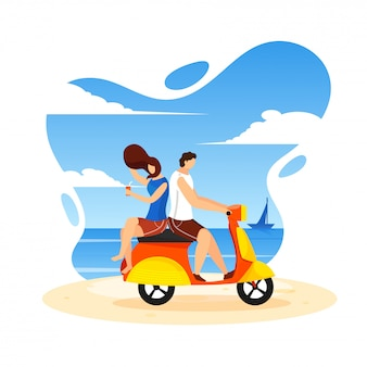 Young couple riding scooter on beach.