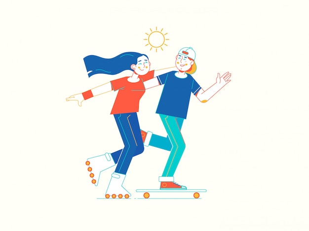 若いカップルが公園でスケートをする