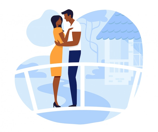 Young couple on romantic date vector illustration