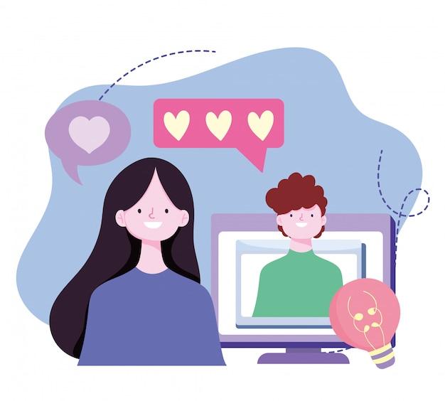 若いカップルのロマンチックなビデオ通話のコンピューターの画面イメージ