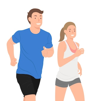一緒に走っている若いカップルは白で隔離