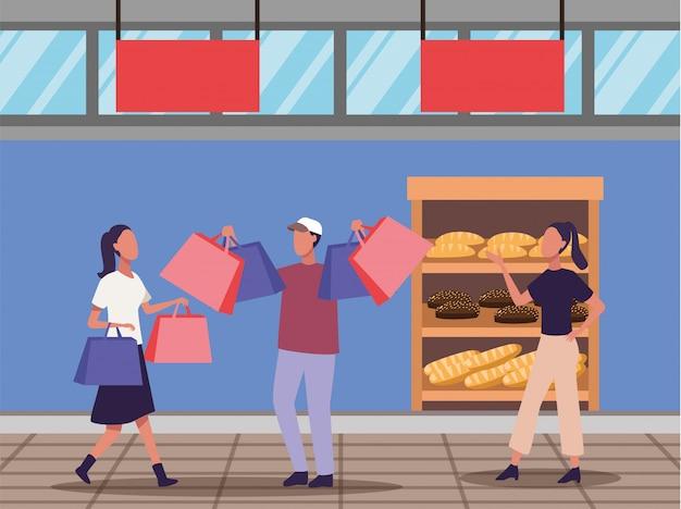 若いカップルショッピングパン活動キャラクター