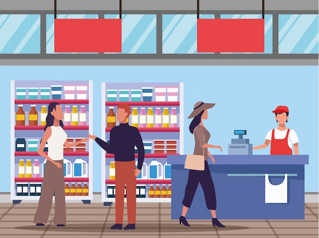 Young couple shopping groceries activity characters