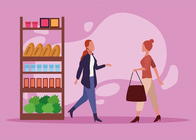 若いカップルショッピング食料品活動キャラクター
