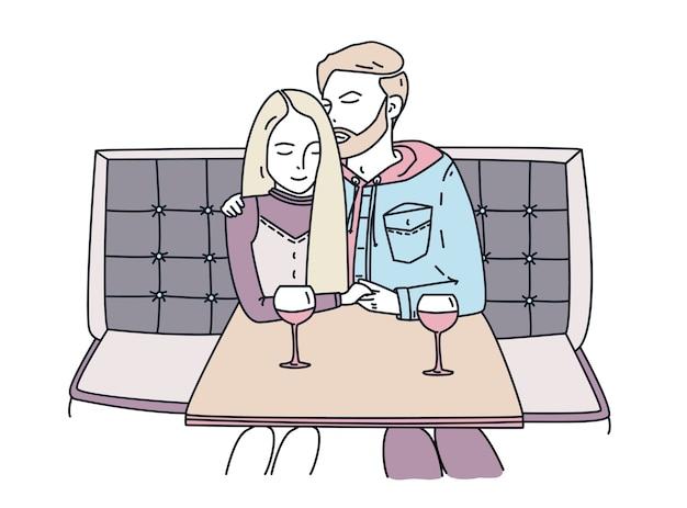 若いカップルはカフェに座って、ワインを飲みます。ロマンチックなデート。男は女の子を抱擁します。ラインアートカラフルなフラットイラスト。