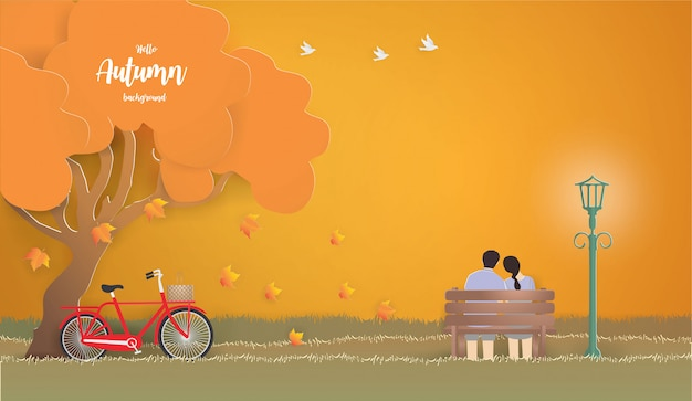 Young couple sitting apart on the bench in autumn illustration.