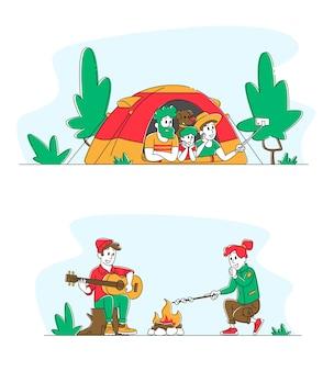 森の歌の歌でキャンプファイヤーに座っている若いカップル