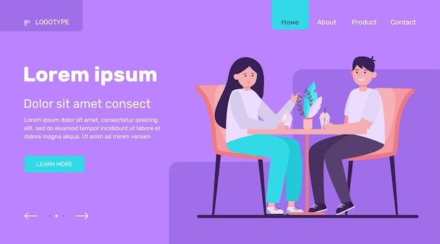 Giovani coppie che si siedono in caffè e bevono tè della bolla data, amore, illustrazione vettoriale piatto caffè. progettazione del sito web di relazione e concetto di famiglia o pagina web di destinazione