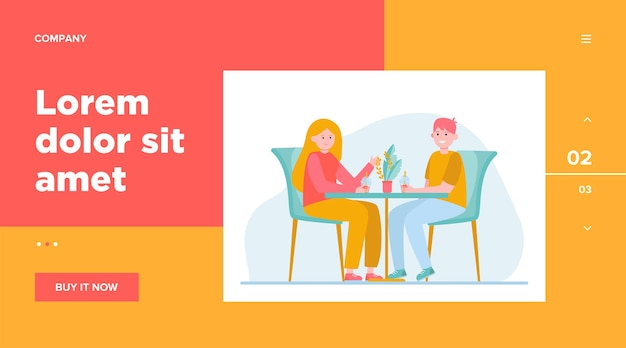 Young couple sitting in cafe and drinking bubble tea. date, love, coffee flat vector illustration. relationship and family concept website design or landing web page