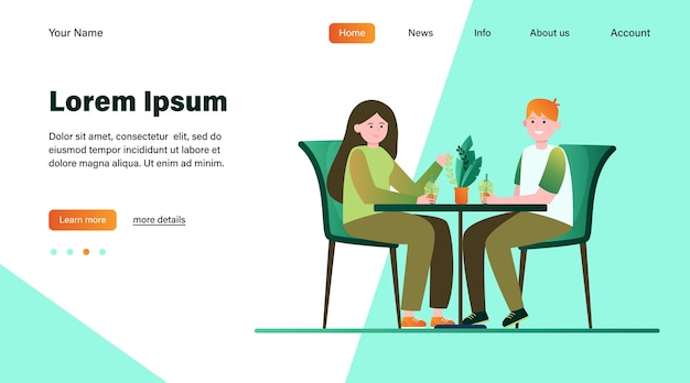 カフェに座っているとバブルティーを飲む若いカップル。日付、愛、コーヒーフラットベクトルイラスト。関係と家族の概念のウェブサイトのデザインまたはランディングwebページ
