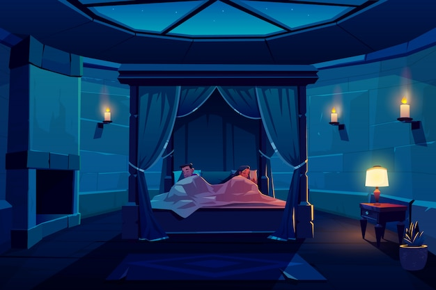 Young couple sleeping in bed with canopy in castle