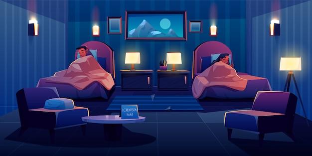 ホテルのスーツで離れてベッドで寝ている若いカップル
