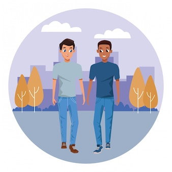 Young couple smiling and walking cartoon