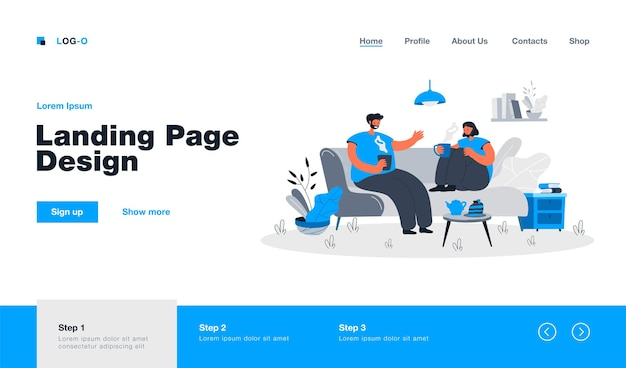 Young couple spending romantic evening together in their apartment. landing page in flat style.