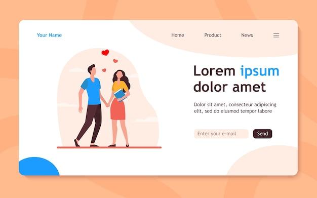若いカップルが立っています。ハート、ガールフレンド、彼氏フラットイラスト。愛と関係の概念のウェブサイトのデザインまたは着陸のウェブページ