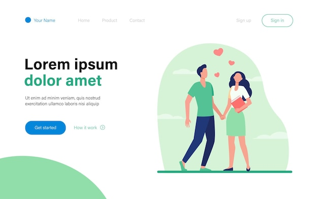 Young couple standing and holding hands landing page template