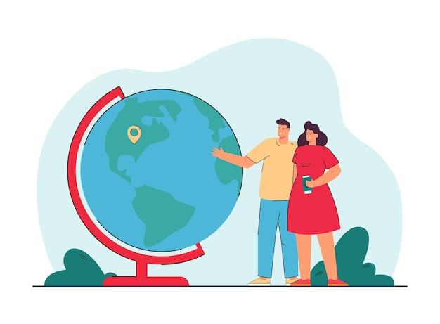 Молодая пара стоя рядом с земным шаром с булавкой местоположения. муж и жена выбирают место для отдыха на плоской иллюстрации