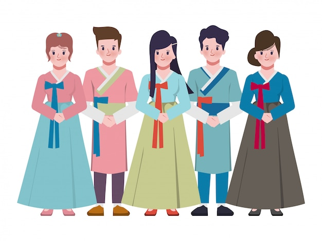 한국 전통 복장에 함께 두 손으로 서 젊은 부부. 중추절 추석 배경.