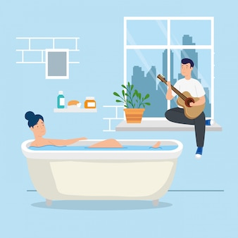 Young couple stay at home in bathtub