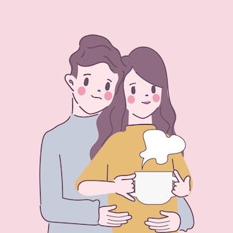 Young couple stay at home