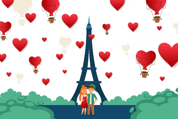 Young couple traveling in paris, europe  illustration. character guy and girl standing in love city center near eiffel tower