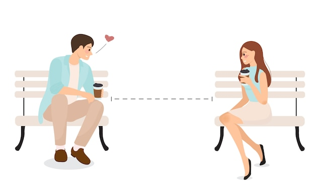 Young couple use social distancing to communicate and confess