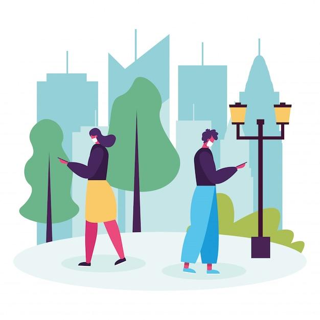 Молодая пара гуляет и использует смартфоны аватары персонажей