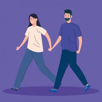 Carattere di avatar di giovane coppia a piedi