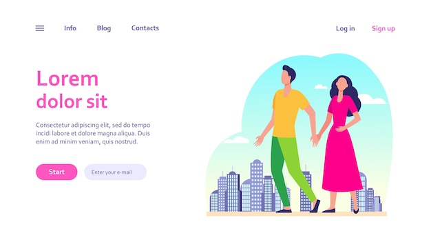 Young couple walking in city. man and woman holding hands. citizens, outdoor activity, dating in city concept for website design or landing web page